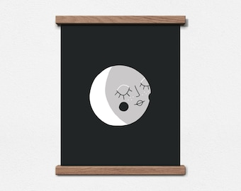 Moon - Kid's Art Print - 8 x 10 Screen Print