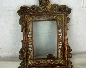 French antique Hanging Bronze Brass picture frame Ornate Angel Cherub