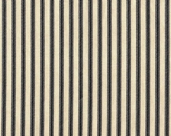 """15"""" Queen Tailored Bedskirt, French Country Black Ticking Stripe"""