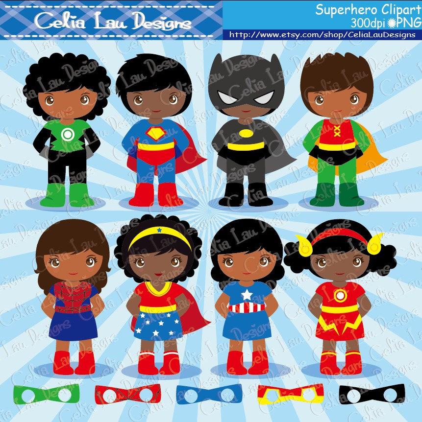 SuperKids Clipart Cute Boy and Girl Superhero clip art