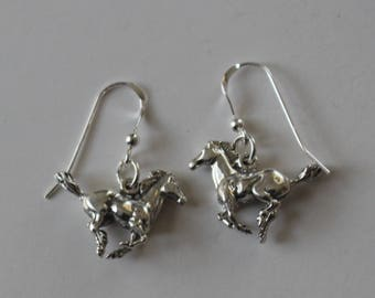 Sterling Silver 3D MUSTANG HORSE Earrings - Equestrian
