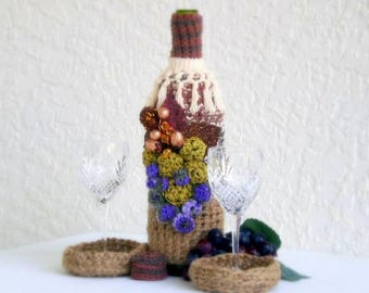 crochet Wine Bottle Cover Cozy + 2 coasters + lid + 4 piece HANDMADE set fundraiser