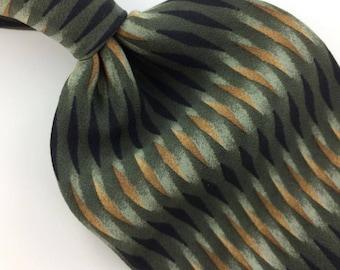 Peter Thomas Usa Geometric Gray Black Brown Silk Necktie Excellent Ties I8-352 q1 Vintage Corbata Krawatte Cravatta Cravate