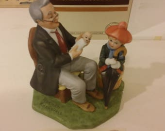 "Vintage Danbury Mint Norman Rockwell ""Doctor and Doll"" Ceramic Collectible Figurine, 1980's"