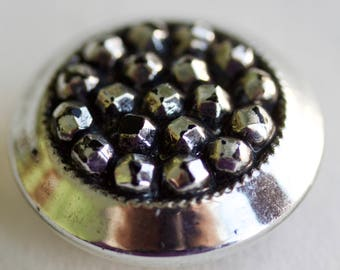 Black Glass with Silver Luster Button