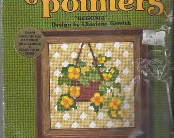 Vintage Needle Pointers Sunset Designs Begonia Needlepoint Kit, 1976