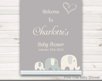 Baby Shower Welcome Sign - Elephant Baby Shower - Personalized Welcome Sign - Baby Shower Sign -  Elephant Welcome Sign - Elly Patches