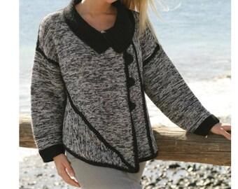 Cross, asymmetric jacket, knitted diagonally, size S/M - M / L - XL - XXL - XXXL