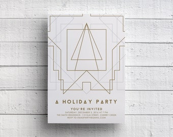 Geometric Christmas Party Invitation, Holiday Party, Company Party, Modern, Gold, Event, Flyer, Cocktail Party, Printed, Printable, Classy