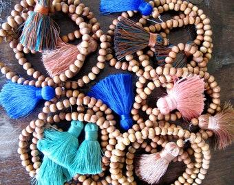 Tassel Necklace- Chunky Short Tassel, Long Wooden Beaded