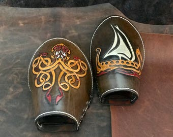 Handcrafted Arm Cuffs with Kraken and Viking Ship