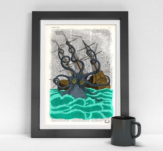 Colorful Giant Sea Monster Kraken Octopus Art Print on Vintage  Dictionary page, art home decor, nursery Poster SEA078