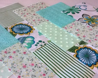 """30 x MINT GREEN 5"""" Fabric Patchwork Squares Pieces Charm Pack"""