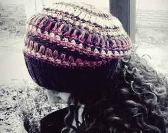 Slouchy hat, beanie hat, women hat, Brown hat, wool hat, OOAK, fairy, rustic beret, Brown beanie, winter, crochet hat, beret hat, feminine