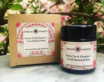 Matcha Green Tea & Vitamin C Face Mask and Polish. Organic. Vegan and alcohol free. 50g Miron jar.