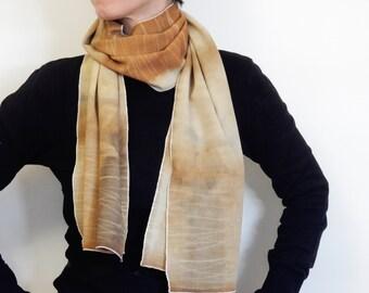OOAK Pure wool woman scarf - Shibori hand dyeing - 33x160 cm - womens gift - mother gift