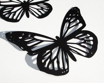 "Paper butterfly die cuts /black/ 12 pc/  size, 3"", 3.5"",4"" /  great for , scrapbooking, room decor, party decoration"