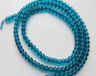 3mm Round, Smooth Turquoise Glass Beads - One Full Strand - Approx 130 Beads