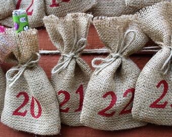 "Small Rustic Christmas Hessian Burlap Jute Advent Calendar Pouches Sacks Bags W9 x H15cm (3.5"" x 6""), 24 BAGS"