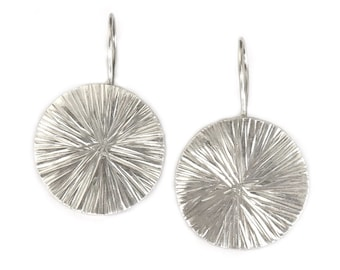 Sterling Silver Disc Earrings, Handmade Round Shiny Scratched textured Silver Disc dangle Earrings, Simple vintage rustic style gift for her