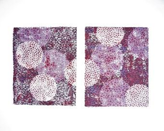 Purple Linocut, Geometric Circles, Abstract Wall Art, Modern Linocut, Handprinted Art, Original Abstract, Living Room Art, Linocut Print Art