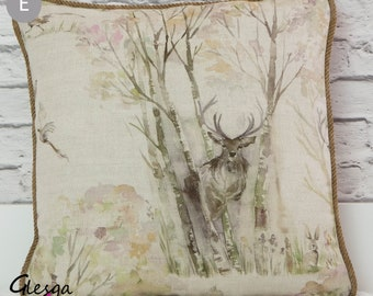 Voyage Stag / Deer Sherwood Forest Cushion Cover with Abraham Moon Oatmeal Spring Tartan  50x30cm & 40x40cm