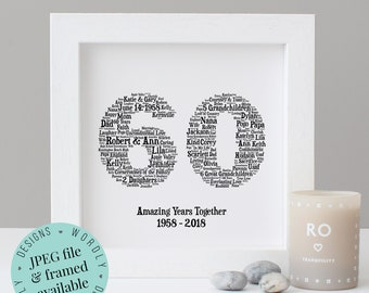 Personalised 60th ANNIVERSARY GIFT - Word Art - Printable Gift - Framed Print - 60 Year Anniversary - 60th Wedding Anniversary - 60 Years