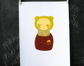 I Will Keep You Company 13x19 / Illustration, Giclee, Digital Print, Art Poster, Poster Print, Unique Quirky Art, Nursery Art, Kids Art