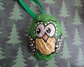 Hand painted owl seashell ornament,owl ornament, abalone, Christmas decoration