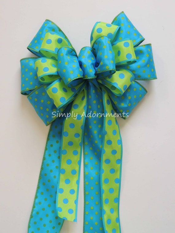 Turquoise Green Easter Wreath Bow Turquoise Lime Spring Swag bow Wedding Aisle Decoration Wedding chair Bow Spring Door hanger Bow Gift bow