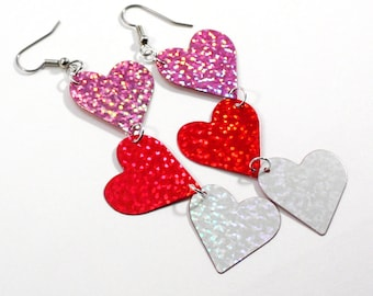Large Hologram Heart Earrings Red Pink White Valentine's Day Dangles Plastic Sequins