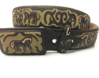 Men's hand-stitched brown leather belt