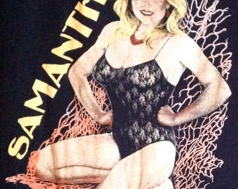 RARE! SAMANTHA FOX T-Shirt for men / vintage 1980's Collection / size M / Black washed/Distressed/Photo print