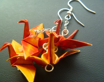 Double-Pair Origami Crane Earrings FREE SHIPPING - red-orange yellow colorful recycled-upcycled-reclaimed-repurposed paper #e802 marlisa