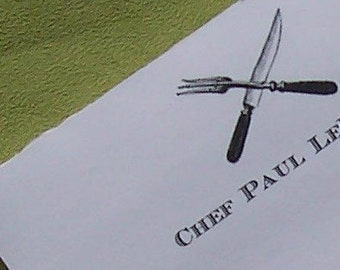 Personalized Chef Cooking Notepad Monogrammed Food Foodie Note Pad 75 Page Knife Fork Utinsil Cutlery Gourmet Gourmand Kitchen Shopping List