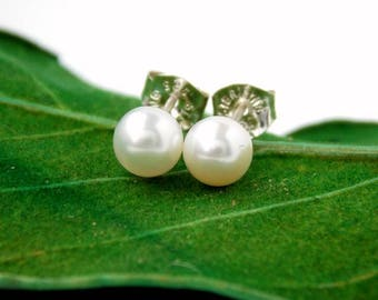 White Freshwater Pearl Stud Earrings – 925 Sterling Silver Pearls – Gift For Her - Bridesmaid Gift –Real 5mm to 5.5mm Pearl Bridal Earrings