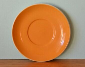Vintage Staffordshire tea cup saucer orange / mustard yellow  OT3