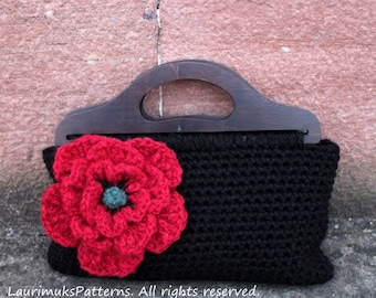 CROCHET PATTERN - Crochet poppy purse womens bag pattern- Listing117