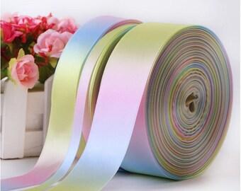 "Satin Pastel Rainbow Ribbon // 3"" , 1.5"" ,1""  3/8"" Ribbon // Double Sided Ribbon // Pastel Ribbons"