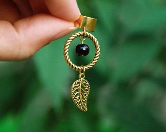 Black earcuff jacket, Dreamcatcher ear cuff, Native american indian earring, Boho dangle dream catcher, Southwestern jewelry in golden color