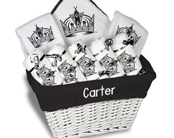 La kings baby shower etsy personalized los angeles kings baby gift basket 2 bibs 5 burp cloths towel negle Image collections