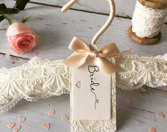 Lace Wedding Hanger, Lace Wedding Dress Hanger, Ivory Wedding Hanger, Lace Bridal Hanger, Wedding Hanger, Bridal Hanger, Wedding Hanger