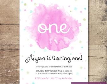 Printable Watercolour Pop Birthday Invitation / Customisable Digital File / JPG or PDF / Pink, Aqua, Lime