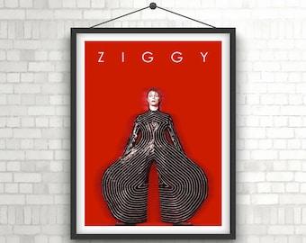 DAVID BOWIE     Ziggy Stardust     Portrait Art Poster Print