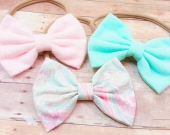 Fabric Headband, Fabric Bow, Nylon Headband Bow, Girls Bow Headband, Nylon Headband Set, Fabric Bow Headband, Bow Clips, Baby Bow Holder