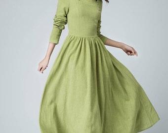 Sage dress, maxi dress, long dress, linen dress, ruffle dress, party dress, prom dress, spring dress, pleated dress, handmade dress (1475)