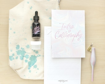 Calligraphy Kit - Blue Splatters Bag