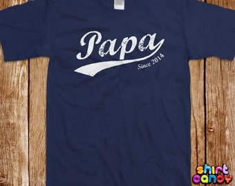 Papa Since T shirt Father's Day Custom Gift With Any Year For Dad Personalized Best Dad Birthday Gift For Him Tee Cool New Father Husband
