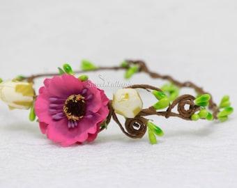 Newborn Pink Flower Tiara Crown Photo Prop Baby Crown Headband Newborn Princess Crown Photo Prop Baby Pink Tiara Headband Newborn Crown RTS