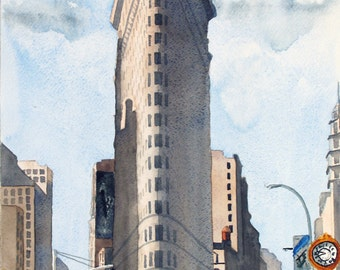 Flatiron, New York City, architecture, cityscape, 13x19 fine art Giclee print made from original watercolor painting, unmatted